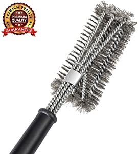 """Ayvicco Perfect BBQ Grill Brush, 18"""" Grill Brush - Stainless Steel Brush w/Wire Bristles 3-in-1 Grill Cleaner Provides Effortless Cleaning, Great Grill Accessories Grill Cooking Grates"""