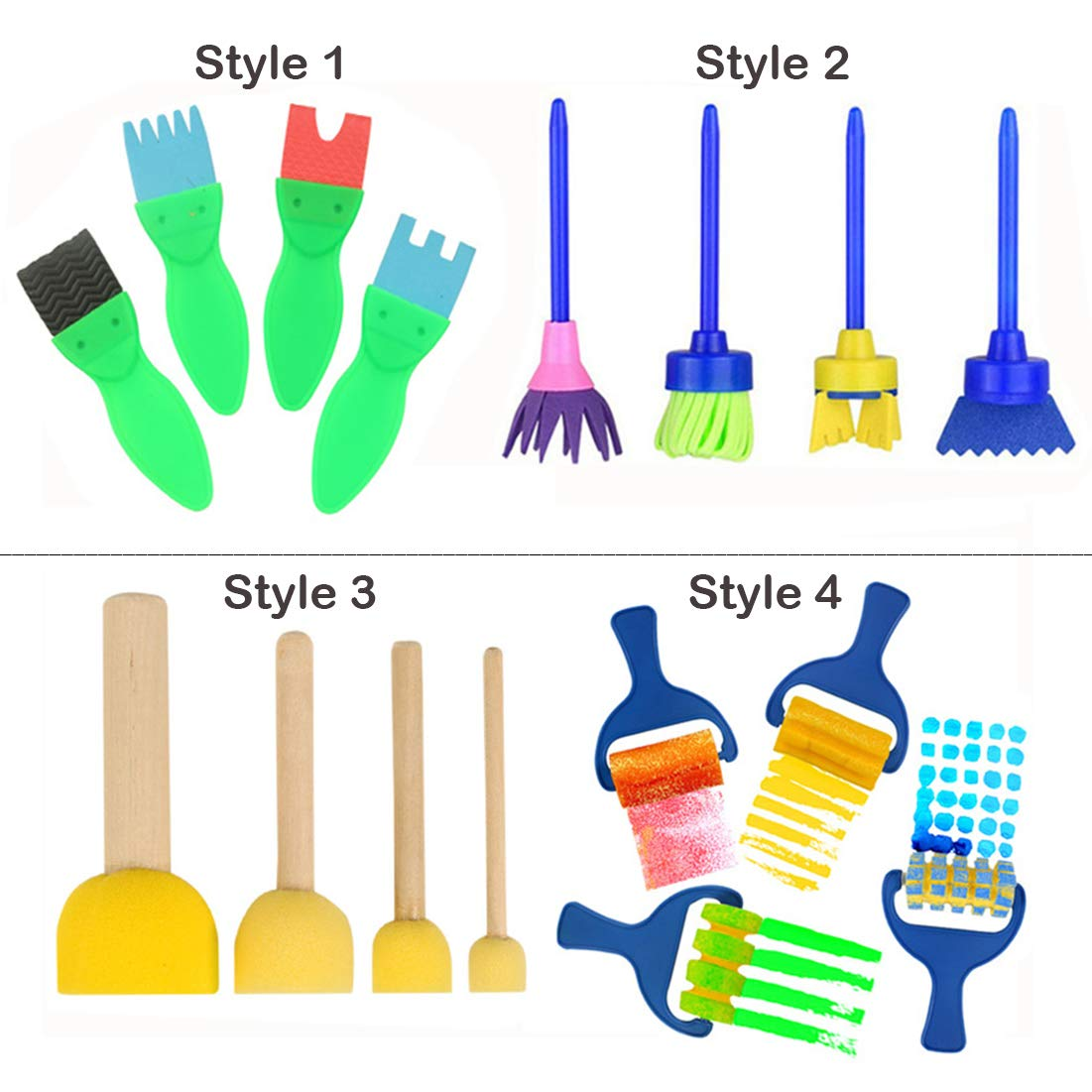 Early Learning Graffiti Paint Brush EVA Sponges Foam Painting Tools Set for Kids Painting Drawing Crafts and DIY 16 PCS Paint Brushes for Kids Artist Paint Texture Brushes