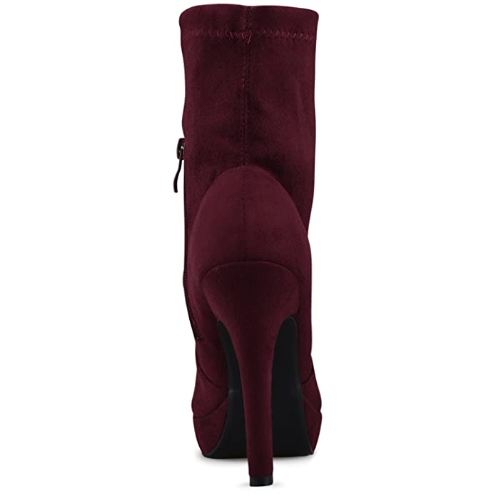 Amazon.com | Premier Standard - Suede Sock Pull Up Mid-Calf Bootie - High Heel Casual Comfortable Walking Boot | Ankle & Bootie