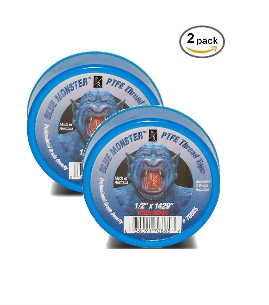 """2 PACK- Milrose 70885 Blue Monster 1/2"""" x 1429' Blue Teflon Tape"""