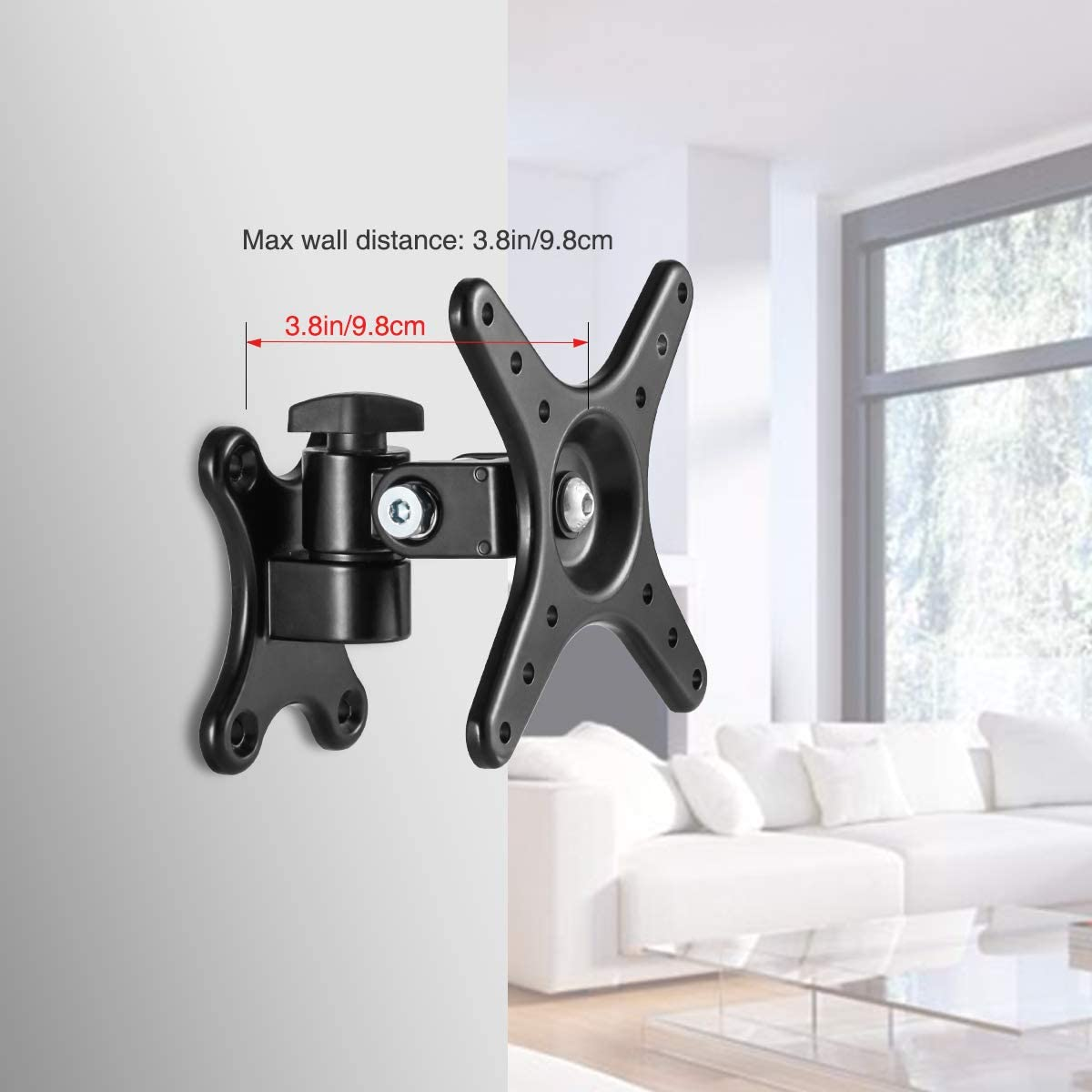 Loutytuo TV Monitor Wall Mount Bracket with Adjustable Tilt Swivel, Fits Screen 14 to 27 Inch, 50/75/100 VESA Compatible, Weight 22lbs (no arm)