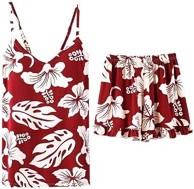 Pijamas Florales Retro con Camisola De Algodón Femenina Ropa ...