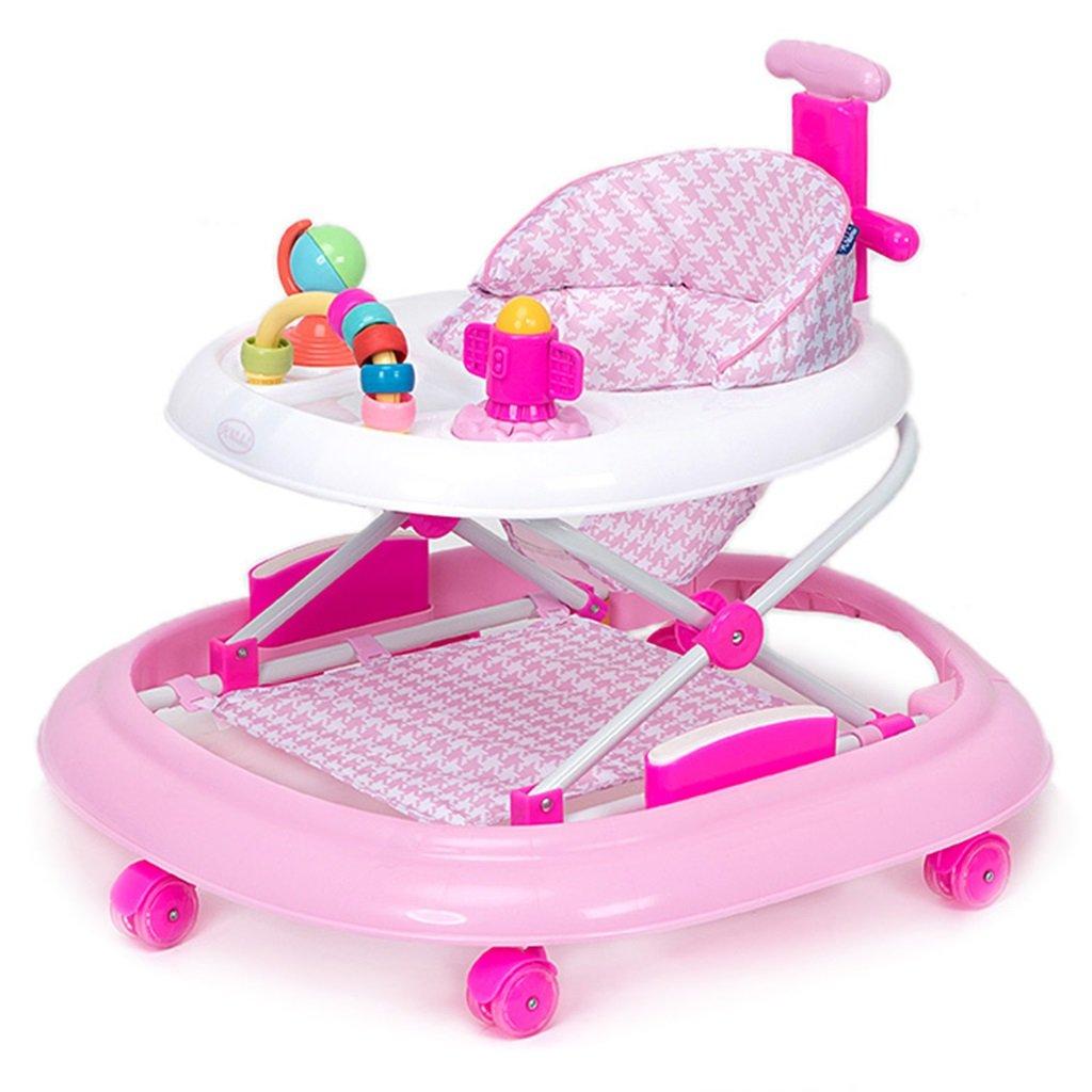 HAIZHEN マウンテンバイク ベビーウォーカー6/7-18ヶ月赤ちゃんアンチロールオーバー多機能ハンドプッシュは、折りたたみ可能な3つの高さ調整可能なベビーキャリッジに座ることができます66 * 71 * 62センチメートル 新生児 B07DMNXQ58 ピンク ぴんく ピンク ぴんく