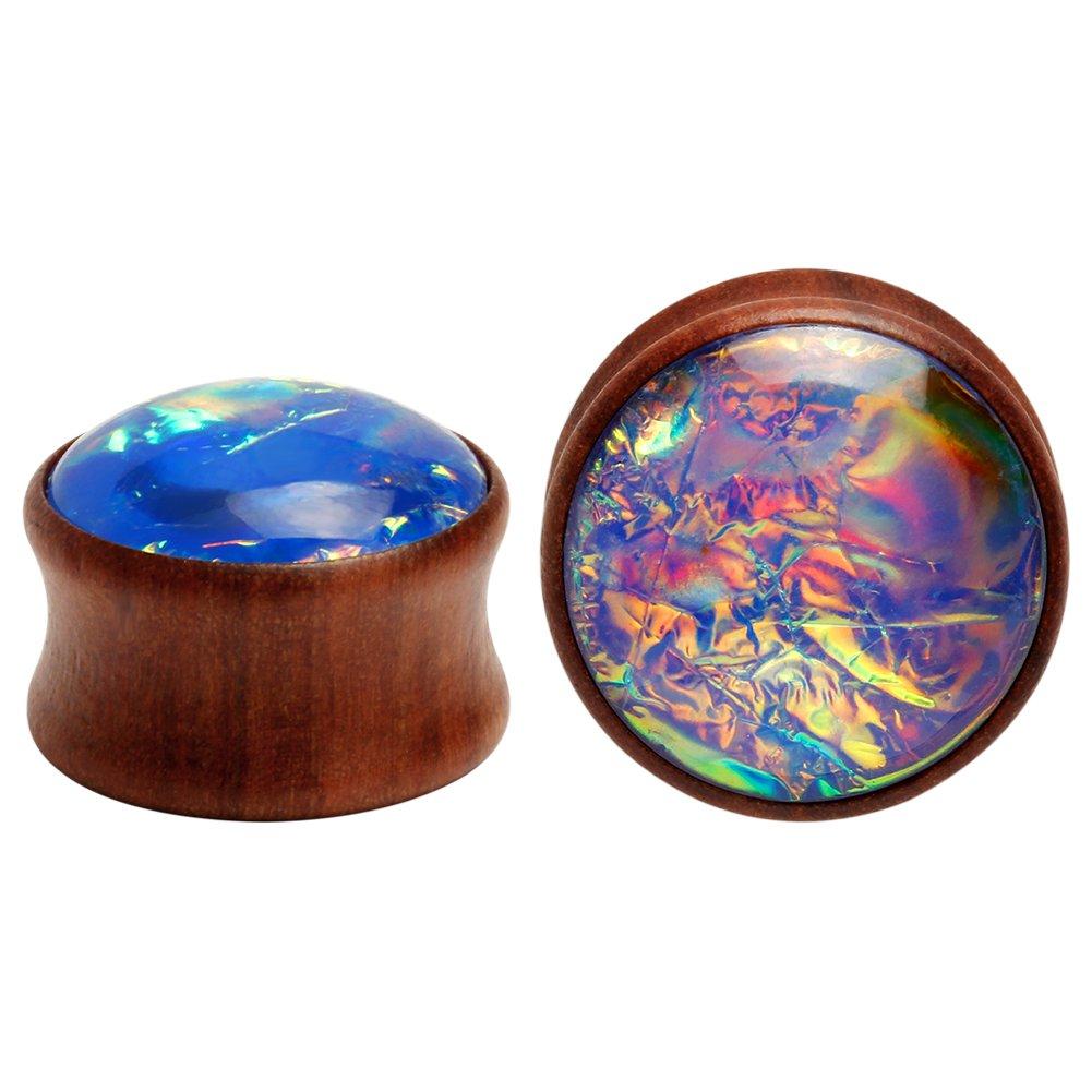 KUBOOZ Sea Shell Center Wooden Ear Plugs Tunnels Gauges Stretcher Piercings Jewelry by KUBOOZ