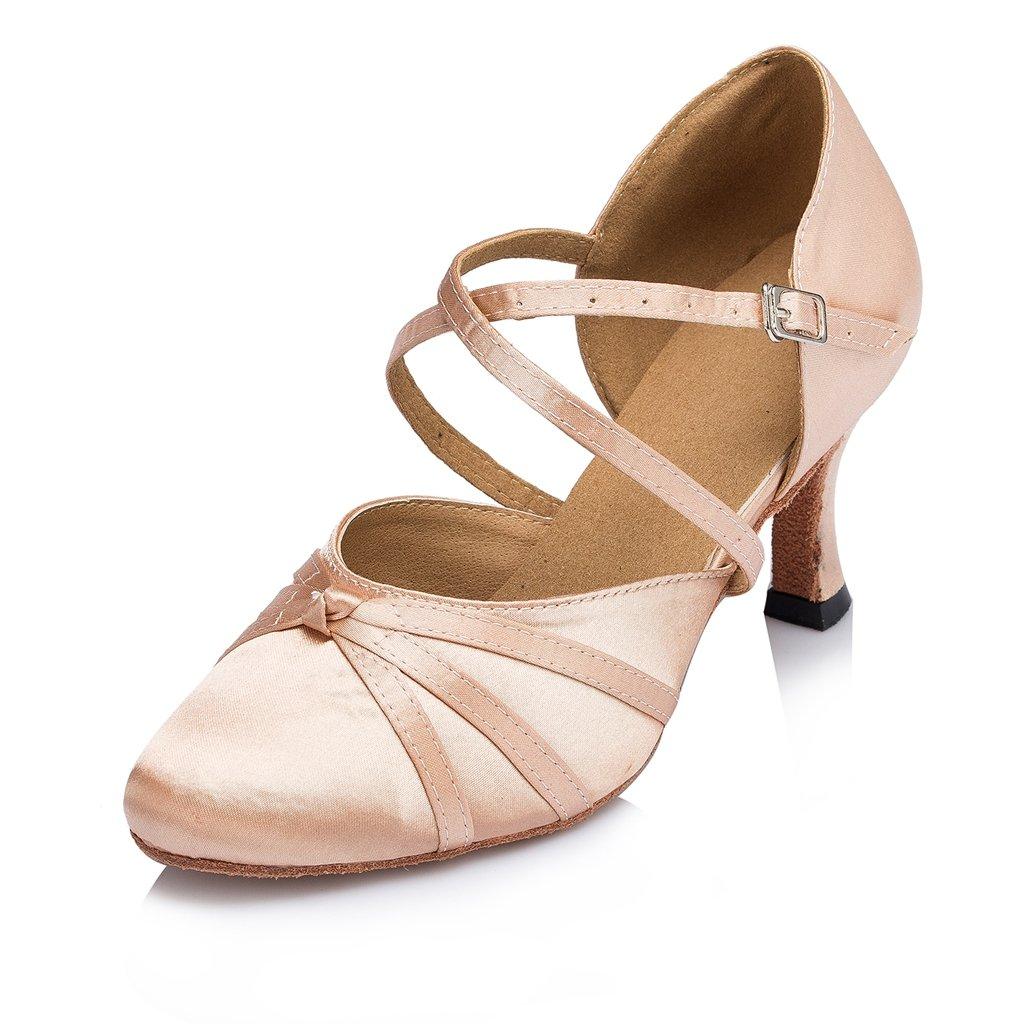 Minishion Women's Ribbon Knot Beige Satin Ankle Wrap Latin Dance Shoes 9 M US