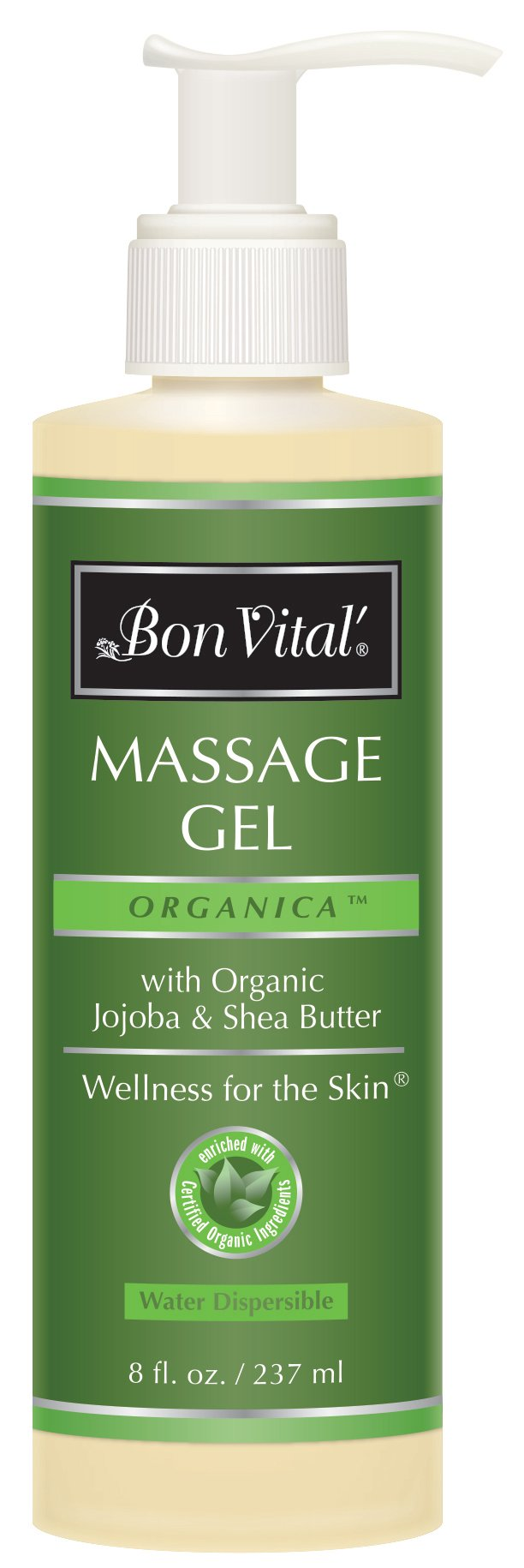 Bon Vital' Organica Massage Gel Made with Certified Organic Ingredients for Earth-Friendly and Relaxing Massage, Moisturizer for Natural Massage that Hydrates and Softens Skin, 8 Oz Bottle
