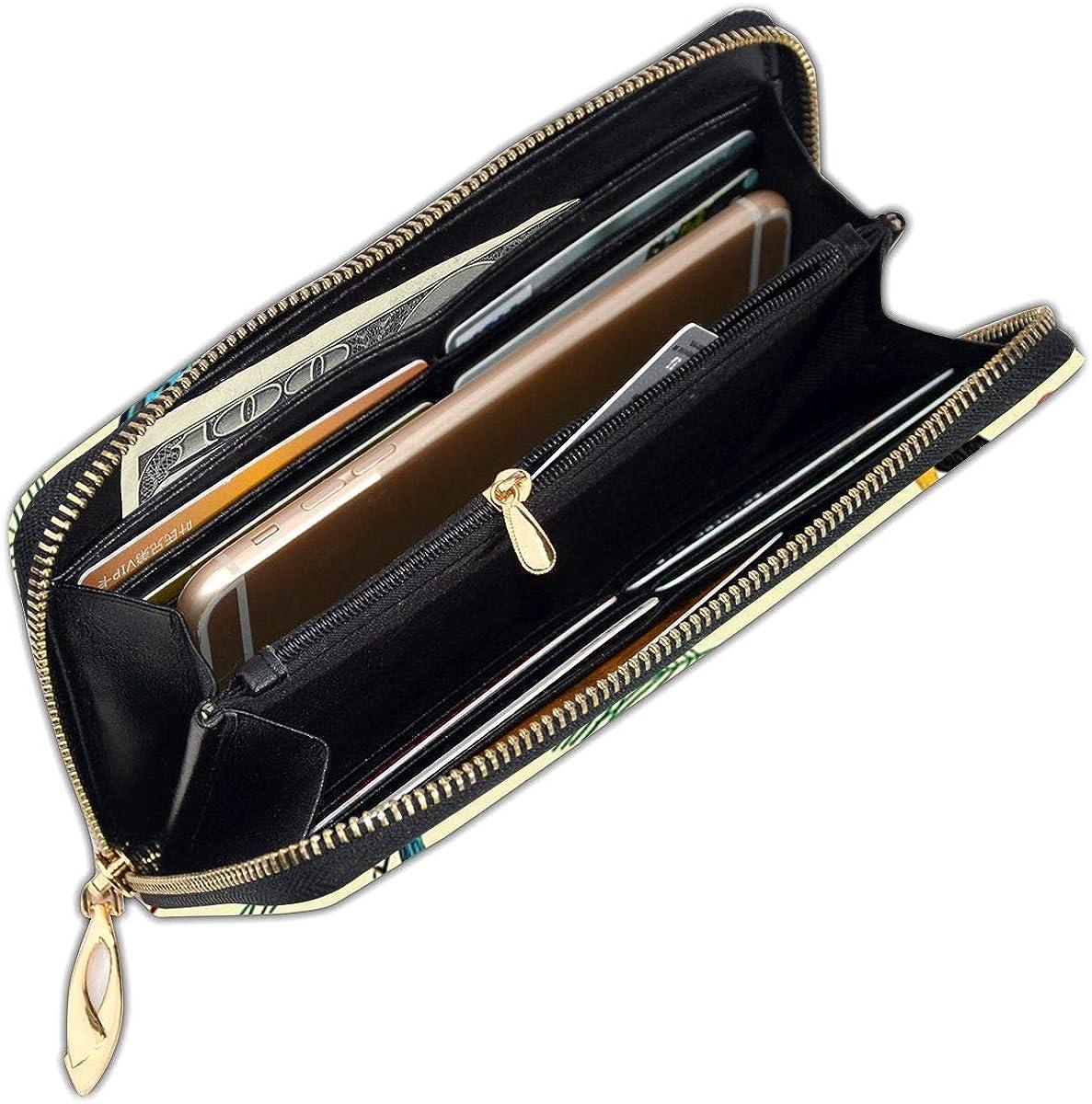 Vintage Bird Pattern Womens RFID Blocking Zip Around Wallet Genuine Leather Clutch Long Card Holder Organizer Wallets Large Travel Purse