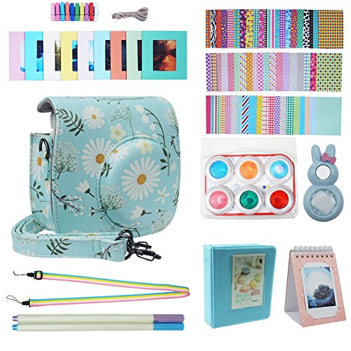 Blummy Instax Mini 9 Accessories Bundles for Fujifilm Instax Mini 8/ Mini 8+/ Mini 9 Instant Camera Including Camera Case/Book Album/Selfie Len/Wall Hanging Frames/Stickers/Strap/Pen (Chrysanthemum)