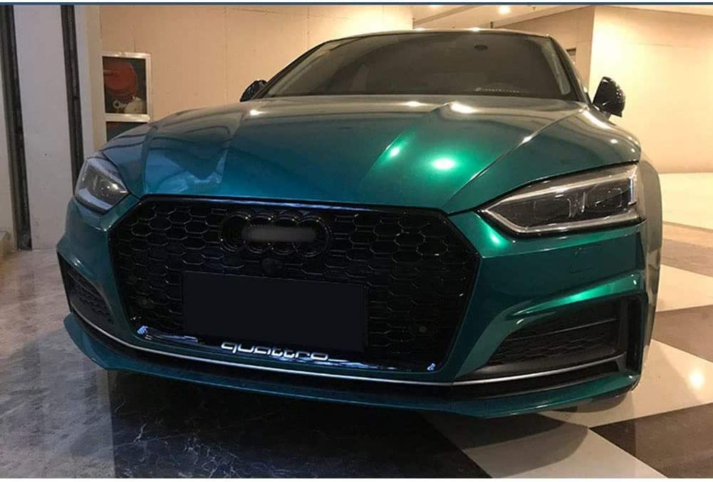 Sport Hex Mesh Honeycomb Hood Grill For Aud-I A5 // S5 // Rs5 B9 2017-2019 Carbon Fiber Style Caviar Caviar ACYCY Front Bumper Grille