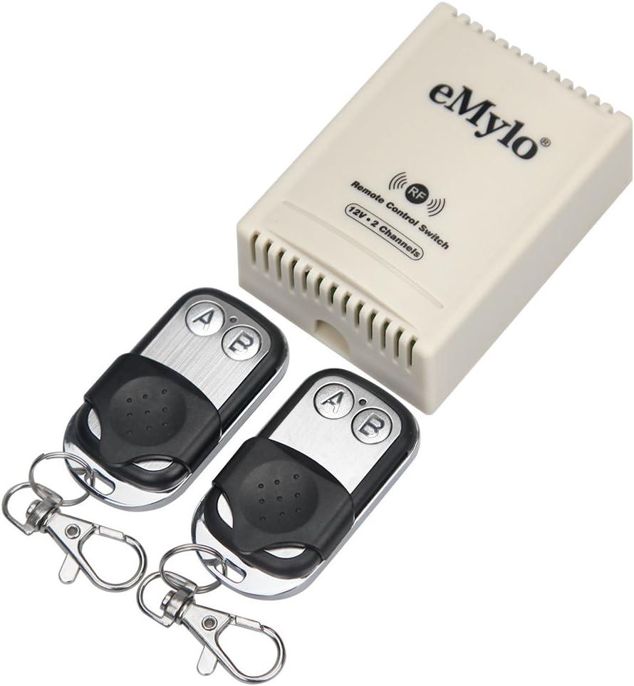 emylo DC 12V Interruptor de Control Remoto inalámbrico de 2 Canales Módulo de relé de RF Automatización del hogar DIY para lámpara/Puerta de ...