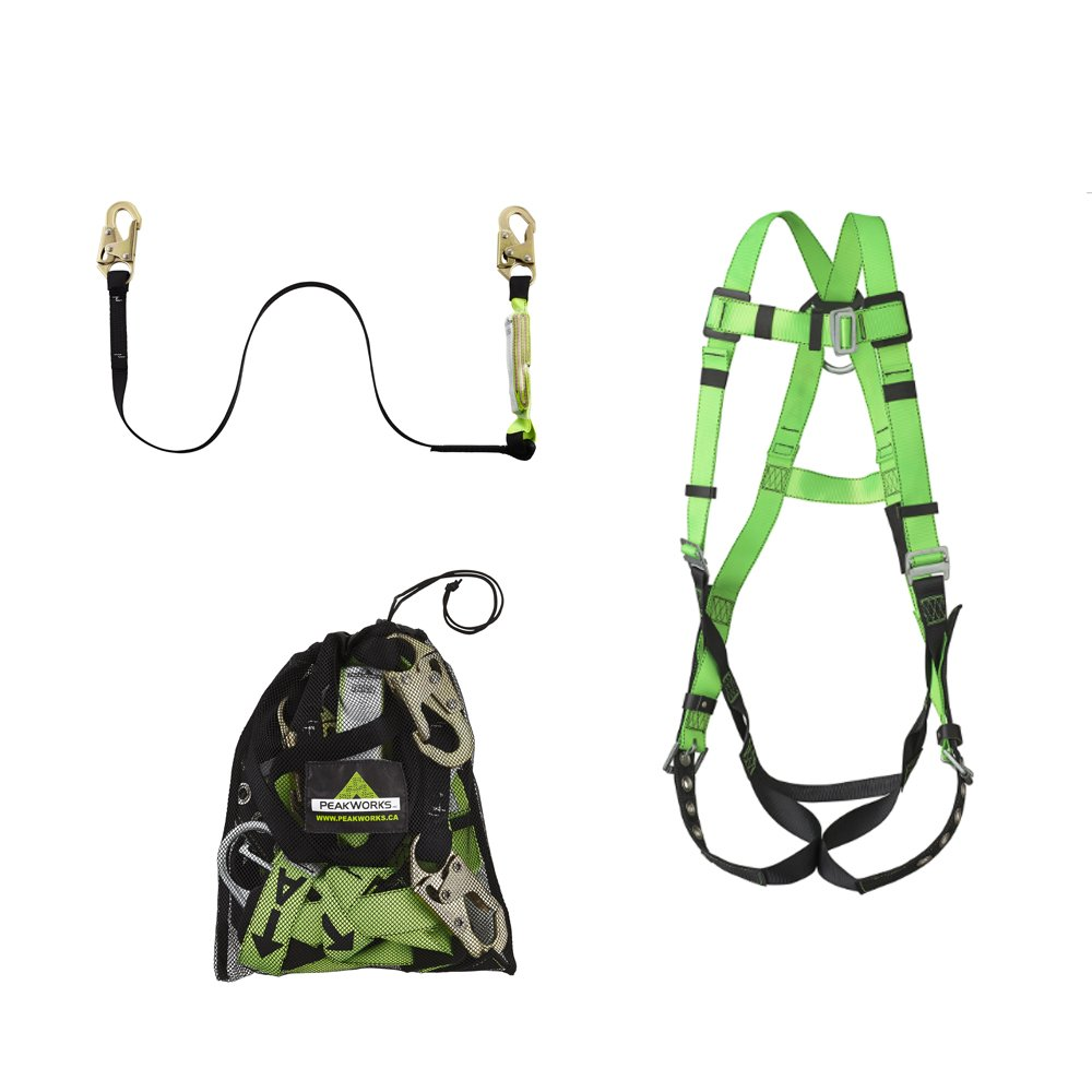 Peakworks Fall Protection Compliance Kit V8252306 - Safety Harness (Universal Fit) , 6 ft. Lanyard with Snap Hooks and Mesh Carrying Bag