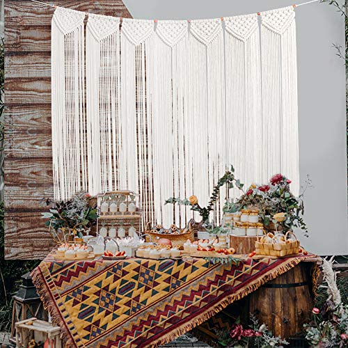 (O-heart Woven Macrame Wall Hanging Curtain, Cotton Fringe Garland Banner Wall Tapestry Boho Wedding Backdrop for Home Bedroom Living Room Baby Shower Nursery Decor 41