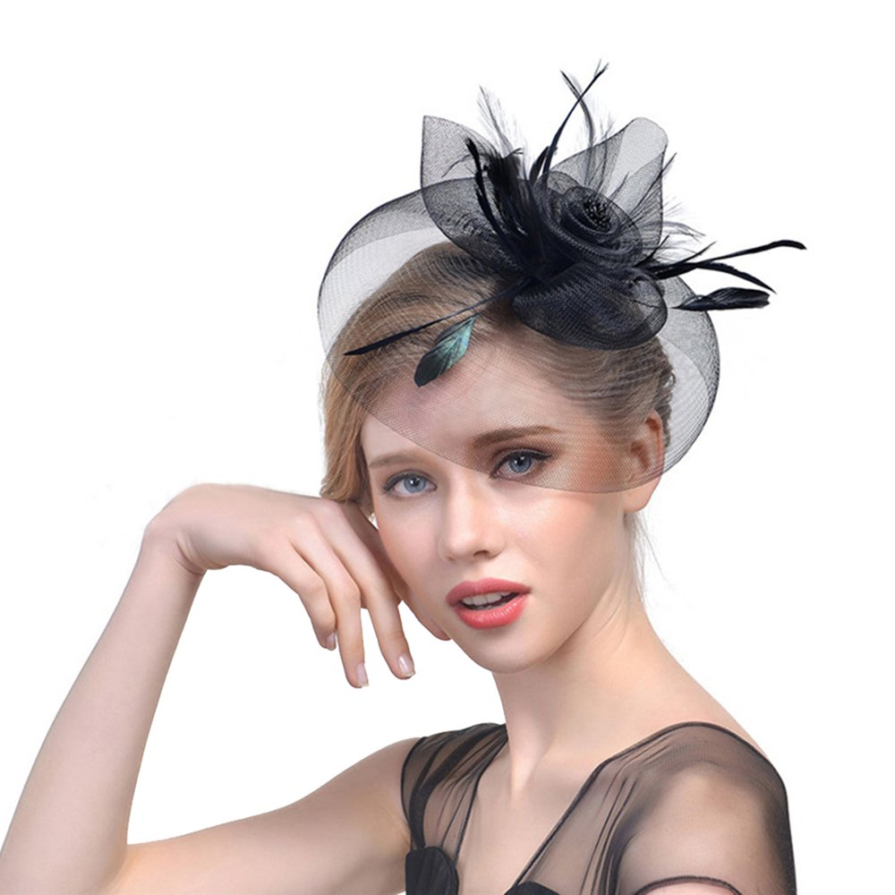 Kosie Hat Fascinator, Women Mesh Feather Cocktail Hats Headpiece Headwear Derby
