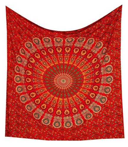 Red Peacock Mandala Tapestry Dorm Decor Hippie Wall Hanging Tapestries Bedding Bohemian Throw Bedspread Bed Cover Hippie Wall Tapestry Picnic Blanket Beach Towel by Jaipur Handloom by Jaipur Handloom (Image #5)
