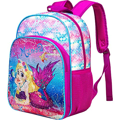 Mermaid Backpack for girls 14.5 Sequin Preschool Backpacks