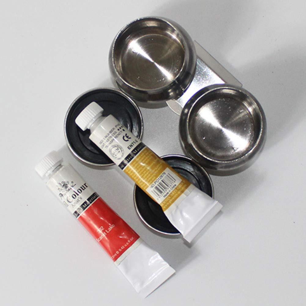doppio Tavolozza per pittura a olio in acciaio inossidabile Tavolo da biliardo Strumenti per studenti Facile da pulire Singolo doppio foro Forniture darte Forma di tamburo