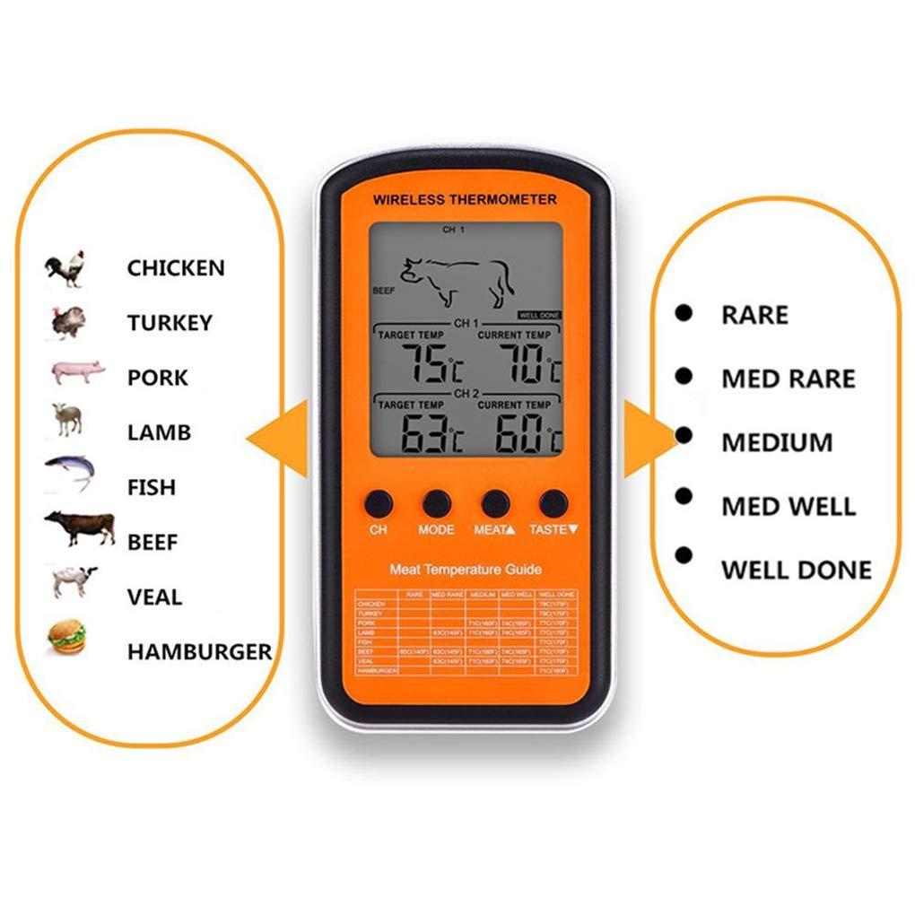 Demino BBQ del termometro a distanza Wireless Home Grigliate fumatore termometro Digital sonda doppia cottura della carne alla griglia cibo Forno Fumatore Termometro
