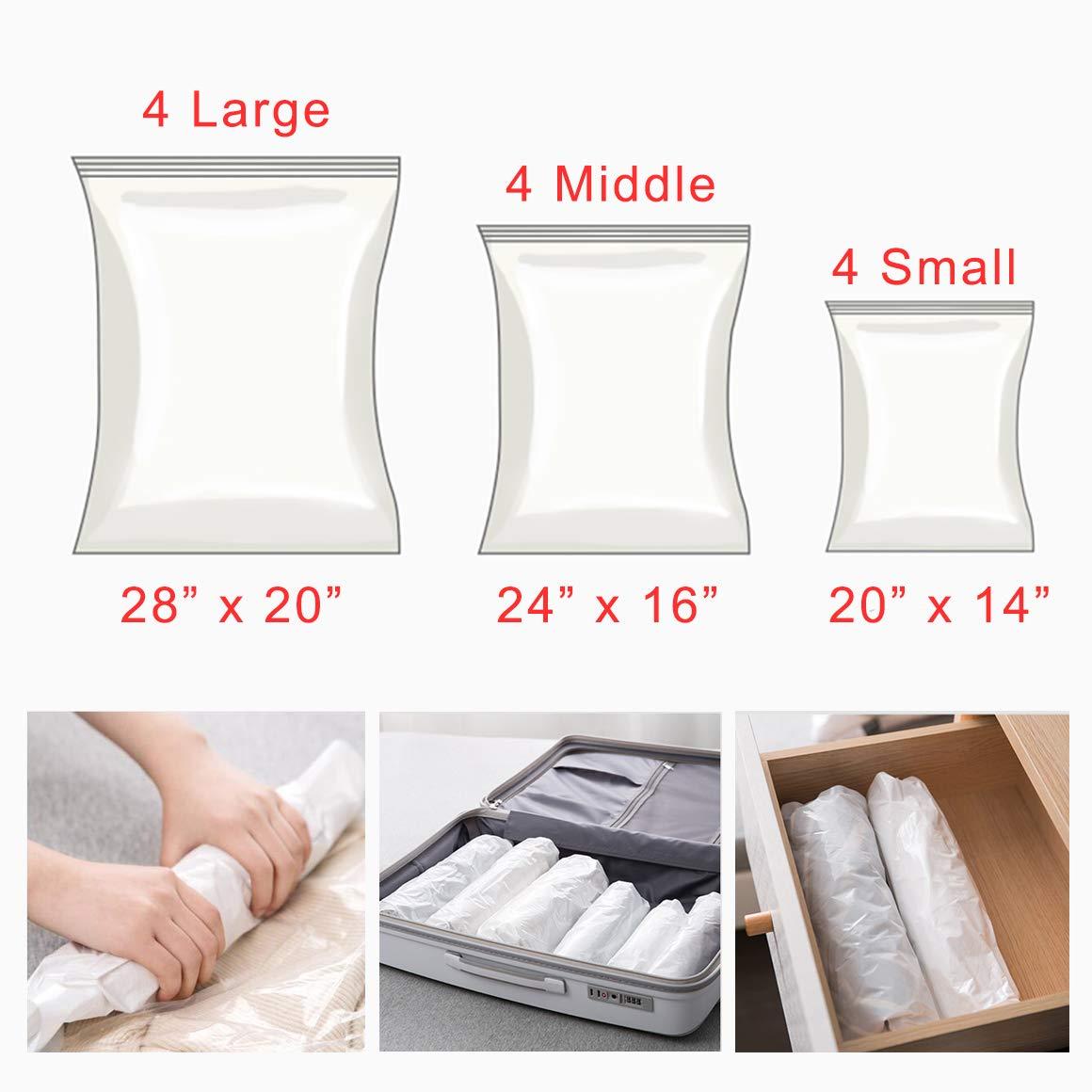 UrsoKuz Space Saver Storage Bags, Airtight Travel Storage Rolling Compression Bags, No Vacuum Ziploc Sacks, for Clothes Pillow Towels Saving, 12 Pack(Small, Medium, Large)