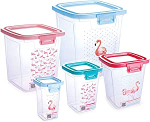 5 Piece Food Storage Container Set with Lock Duo. Lids Attached.