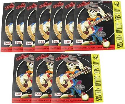 10 cuerdas para guitarra acústica B de acero inoxidable 2ª .016