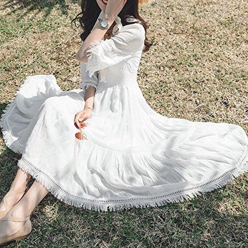 MiGMV Robe Blanc de 2018 Robe Dentelle Longue Mousseline de Jupe la l't la Jupe Longue Blanche L qrcqvatnW8