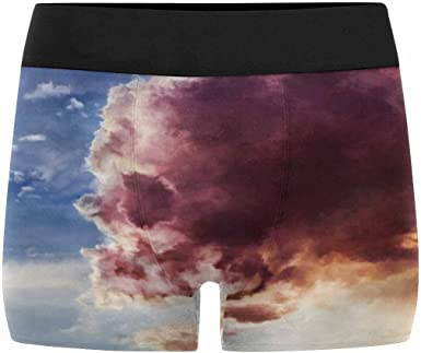 INTERESTPRINT Mens All-Over Print Boxer Briefs Monstrous Skull-Like Cloud of Fire Floating in The Sky XS-3XL