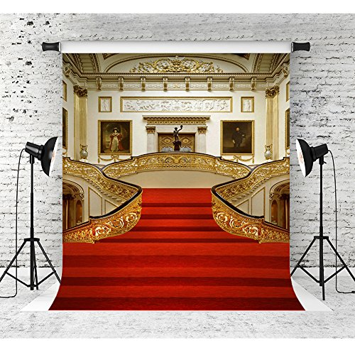 5x7ft Palace Red Carpet Photo Backdrops Golden Hall Vinyl Background for Photography Wedding Party Events Banner