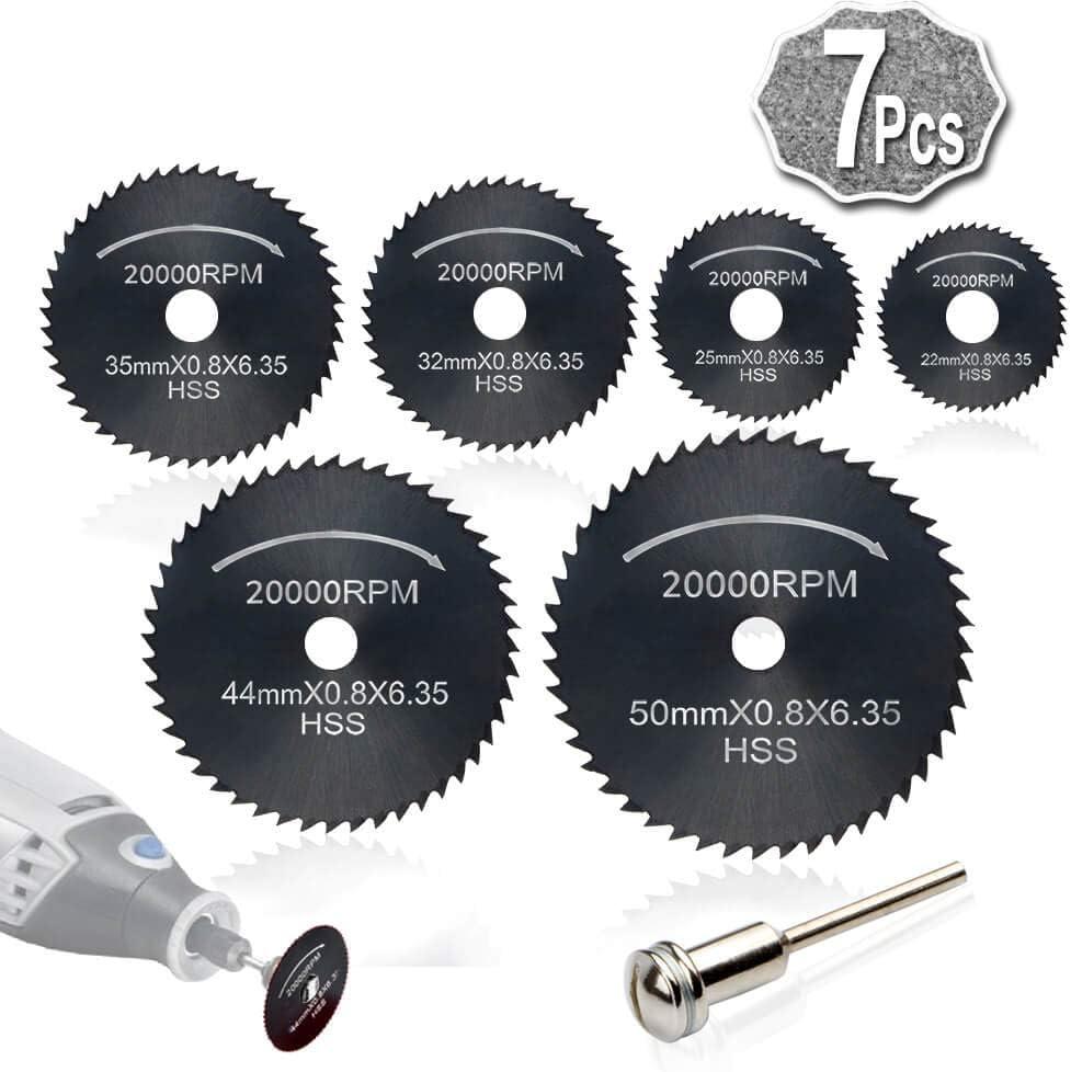 7pc HSS corte circular de madera de sierra Discos de lámina (Acero de nitruración) para Rotary Tool Mandril, Cuchillas discos de corte by AniSqui