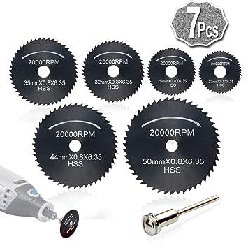 7pc HSS corte circular de madera de sierra Discos de lámina (Acero de nitruración) para Rotary Tool Mandril, Cuchillas discos de corte by AniSqui: ...
