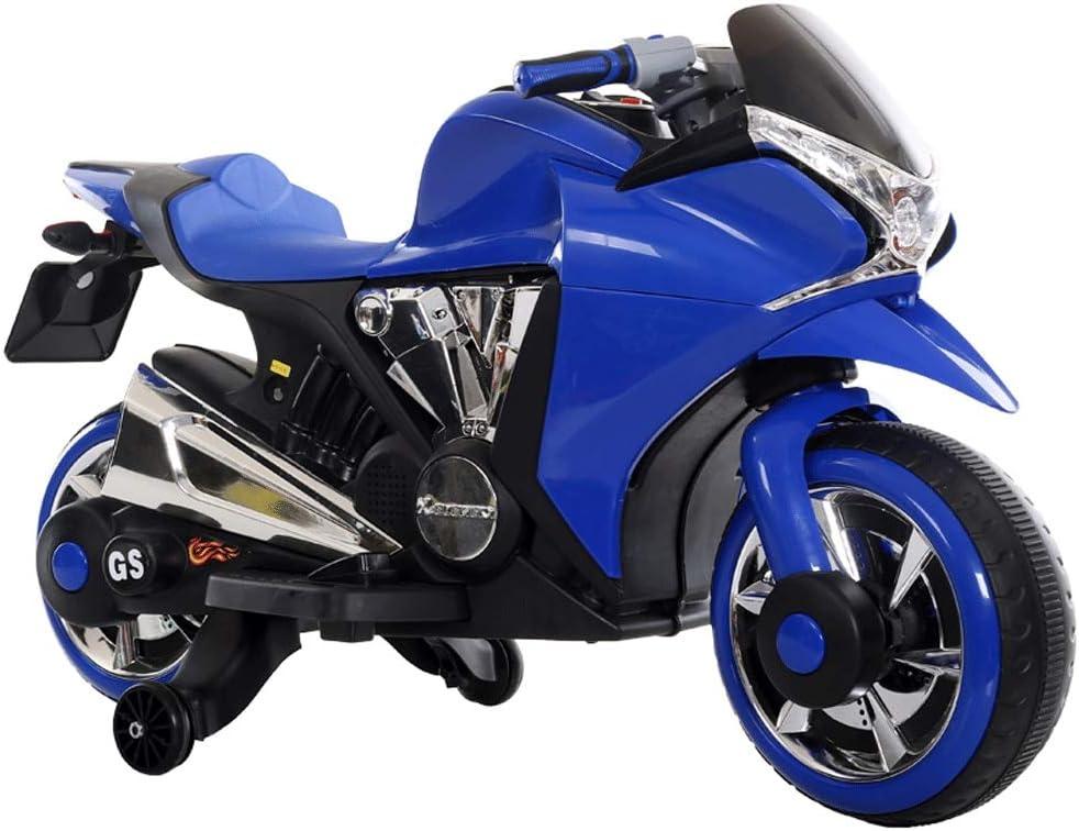 Moerc Infantil eléctrica Dual Drive Motocicletas Paseo en Moto Triciclo niños de Coches de Juguete Puede Sentarse 3-6-8 Años de Edad batería Coches Adultos y los niños Pueden Sentarse (Color : Azul)
