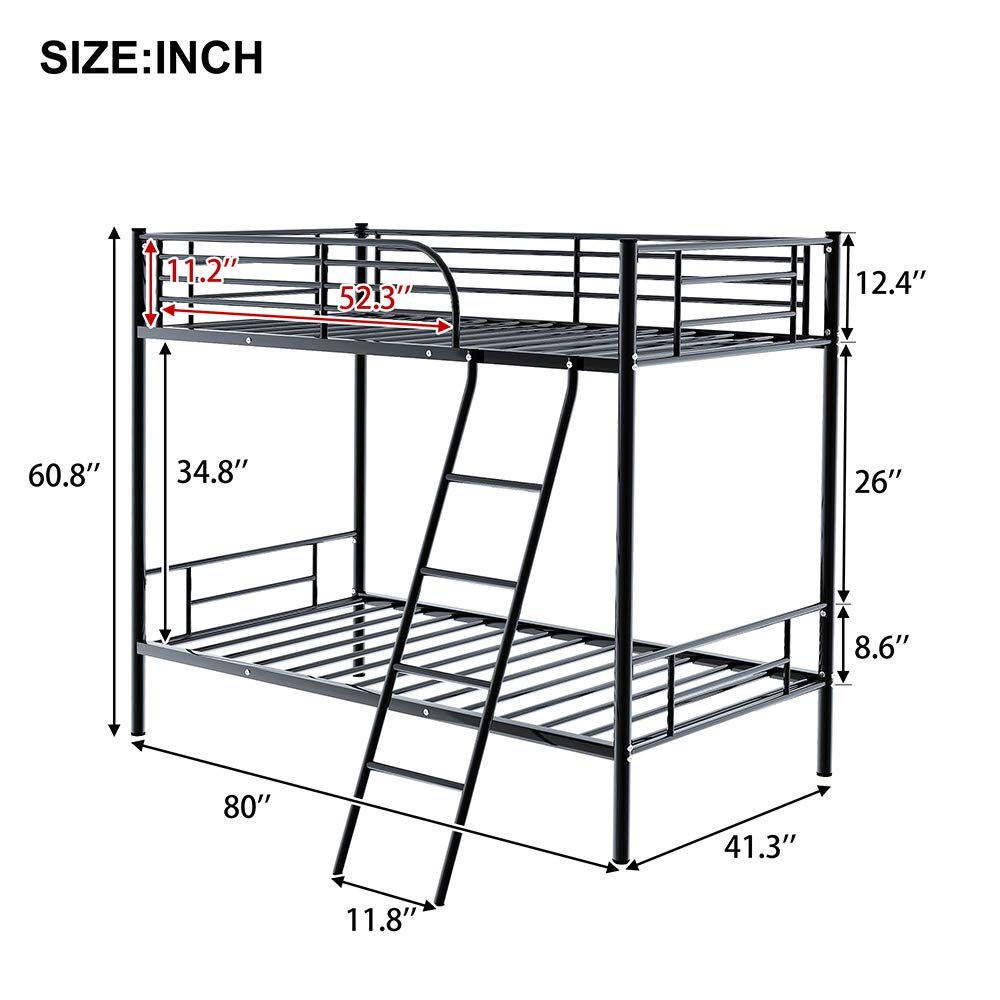 Romatlink Twin Metal Bunk Bed with Ladder Heavy Duty Bed Frame for Kids Bed Bedroom Space-Saving Design with Safety Guard Rails-Black