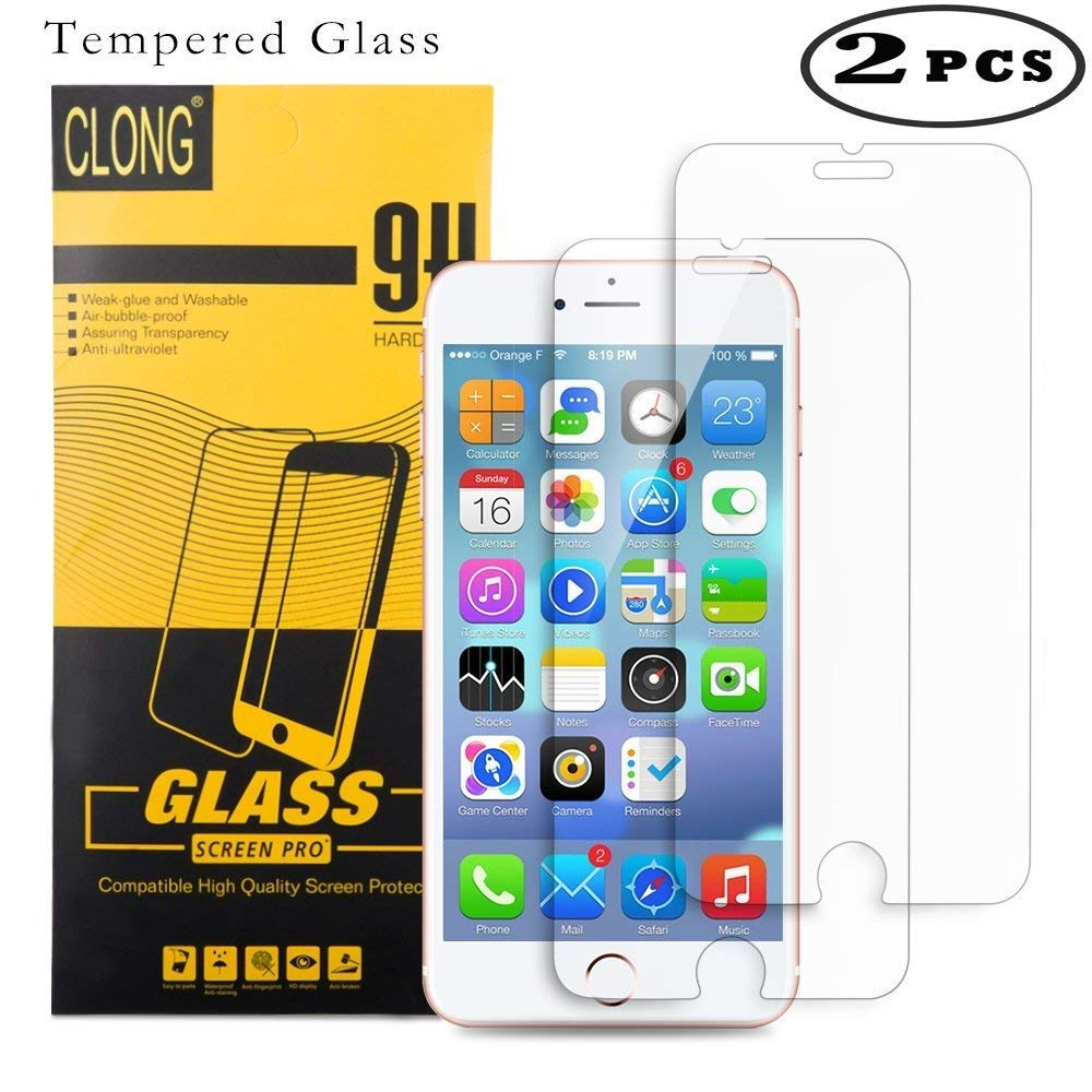 iPhone 8 7 6s 6 Screen Protector Glass, CLONG iPhone 8 7 6s 6 Tempered Glass Screen Protector for Apple iPhone 8(2017) / iphone 7(2016) / iPhone 6S(2015)/ iPhone 6(2014)-(2 Pack) - HD Clear