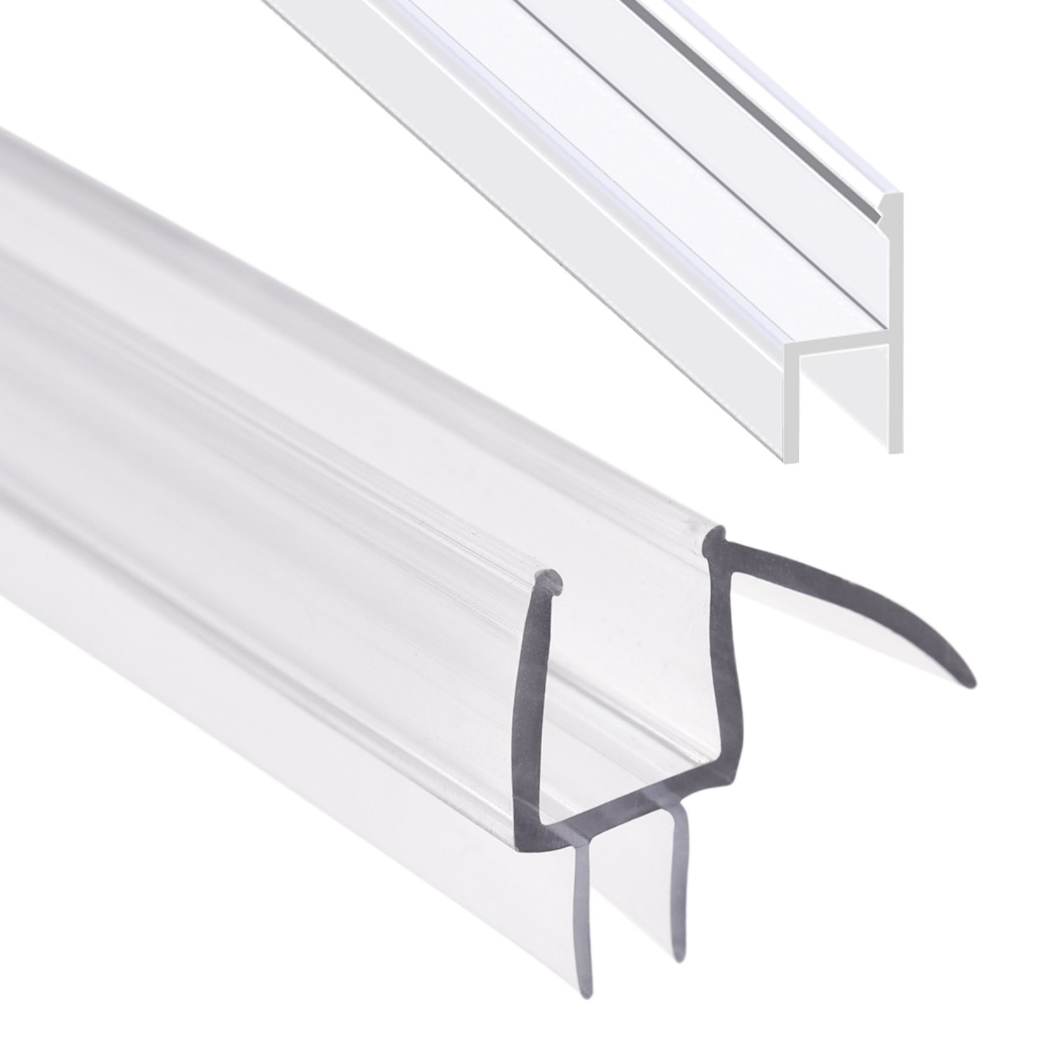 Shower Door Sweep, Frameless Glass Shower Weather Stripping for Door Bottom-36 Inch Length M-3/8 inch + 72 Inch Length H-3/8 inch (3/8 inch(10mm), M+h-Type) by MAGZO (Image #1)