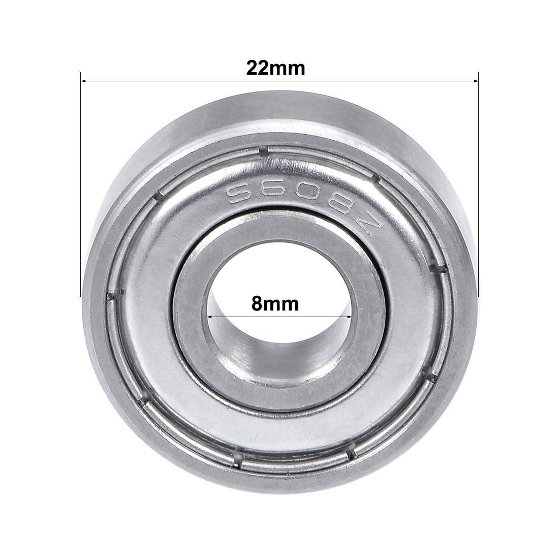 sourcing map S608ZZ Stainless Steel Ball Bearing 8x22x7mm Double Shielded S608Z Bearings Z2 Lever