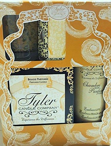 Tyler Candle Gift Set II - Fleur De Lis - 11oz Prestige Candle, 9oz Chambre Room Perfum, 2oz Votive Candle, Glass Votive Holder