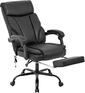 Home Office Chair High Back Ergonomic Desk Chair Recliner Computer Chair with Lumbar Support Armrest Foot Rest PU Leather Task Chair for Adults (Black)