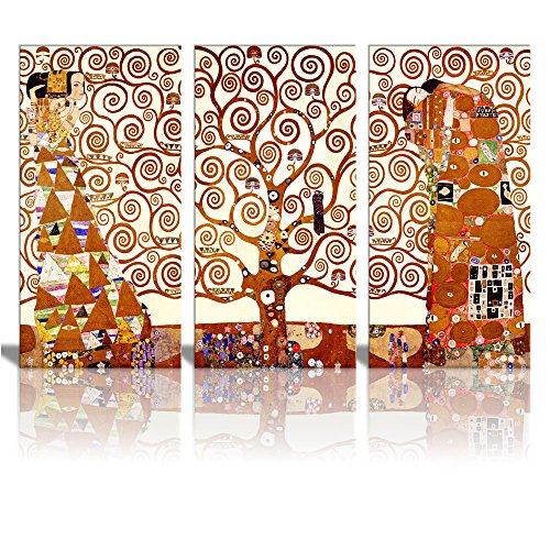 Wall26 Tree Of Life Canvas Print By Gustav Klimt 3 Panels Abstract Canvas Wall Art – 24 x36