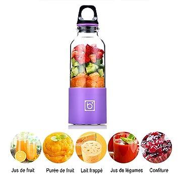 fishoil Mini - Exprimidor de limones eléctrico en USB Charger Batería de litio recargable 2600 mAh para fruta mermelada morado: Amazon.es: Hogar