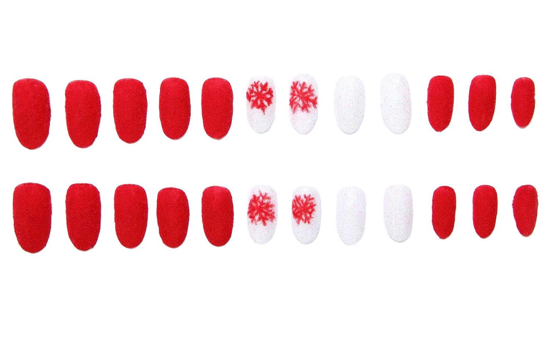 Amazon.com : 24 Pcs of 12 Different Sizes Handmade Velvet Powder Snowflake Finger Fake Nail for Christmas : Beauty