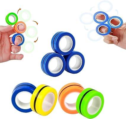 Magnetic Rings set of 3 Anti-stress Fidget Finger Toys Rotating Fun Game