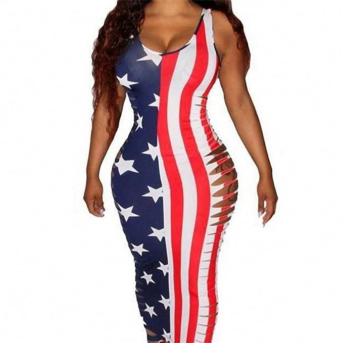 cd5321ee29 Ytwysj Women s Summer Patriotic USA American Flag Print Strapless Sleevess  Tank Bodycon Mini Dress 4th of July at Amazon Women s Clothing store