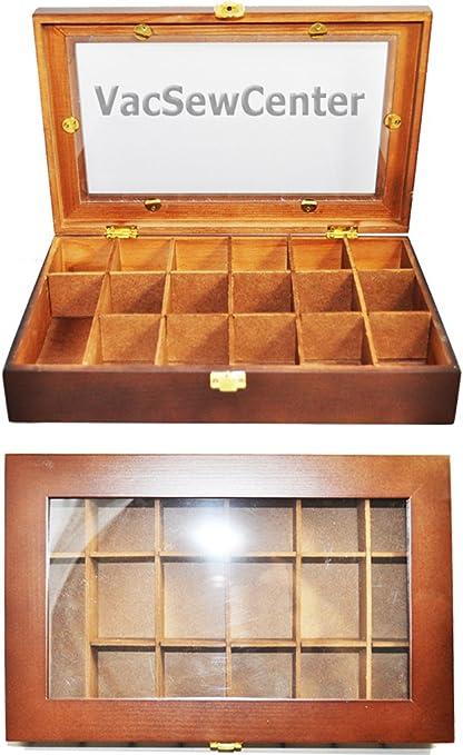 Sewing Box Wood Tone Floss Box 40140115