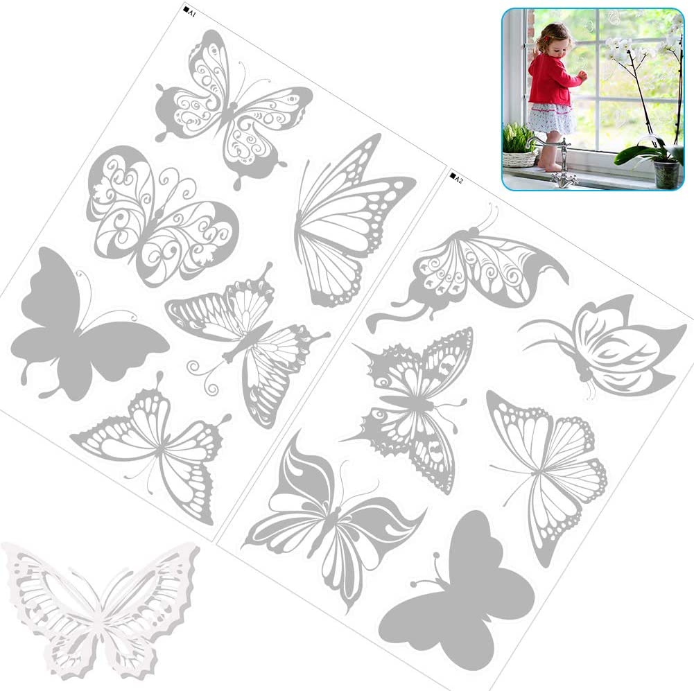 Anti Collision Window Stickers Prevent Bird on Window Glass Doors Glass Decor Translucent Dusted Alert Bird Cling 12 PCS Butterfly Anti-Collision Window Clings for Birds