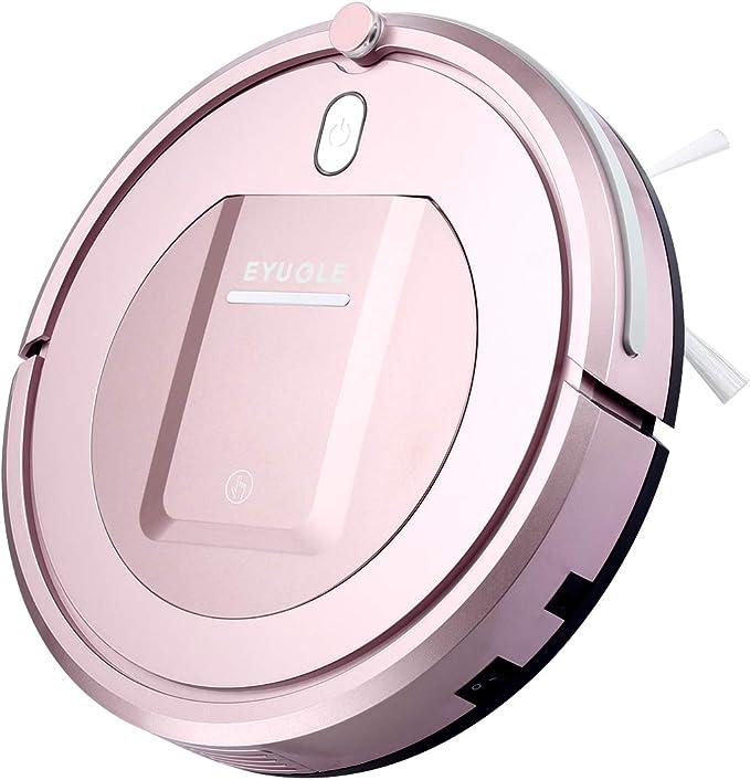 Eyugle KK290A Robot aspirador de limpieza patentado aspiradora de suciedad 500pa 3 fases sin pelos polvo y mascotas Vacuum Cleaner limpio silencioso y autoajustable sensor proyecta (rosado): Amazon.es: Hogar