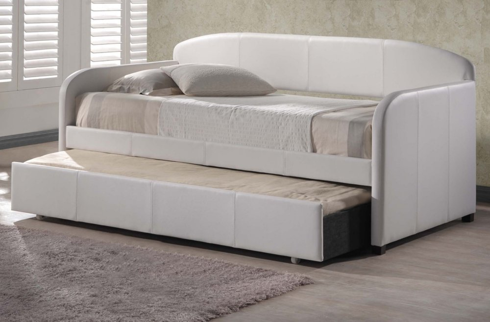 amazoncom hillsdale springfield daybed in white faux leather with trundle kitchen u0026 dining - Leather Daybed