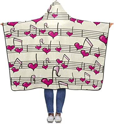 InterestPrint Heart Music Throw Blanket 80 x 56 inches Adults Girls Boys Blankets with Hood