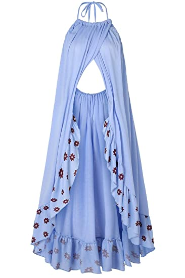 005bb1b2f6119 Women's Sling Print Long Sleeve Maternity Dress for Photography Chiffon  Maternity Gown for Photoshoot CapsA Blue