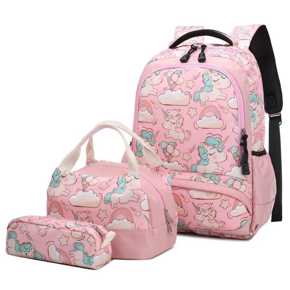 Galaxy Schulrucksack Rucksack Einhorn Schultasche Set reiserucksack für mädchen Jungen Kinder Damen Jugendliche mit Kleine Täschchen Mäppchen (Pink)