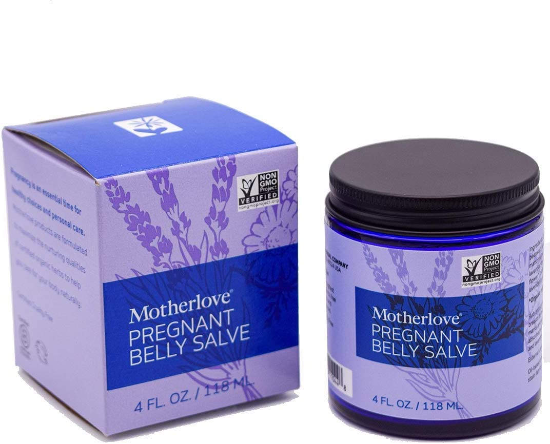 Motherlove Pregnant Belly Salve (4oz) Help Prevent Stretch Marks During Pregnancy & Soothe the Itch of Growing Skin—Moisturizing, Easily Absorbed Salve w/ Light Lavender Scent—Organic Herbs, Non-GMO
