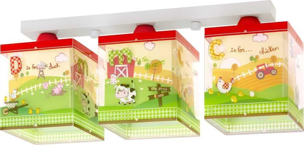 Kinderzimmer-Lampe Bauernhof Decken-Lampe 64403 mit LED RGB-CCT 550 Lumen Kuh Scheune bunt Mädchen & Jungen